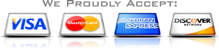We proudly accept credit cards for payment