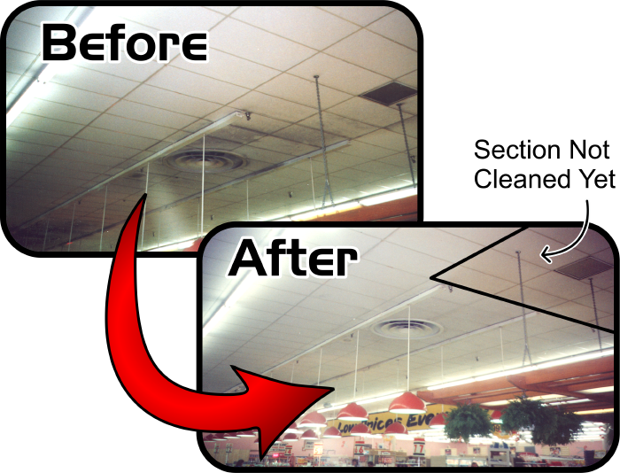 Acoustical Ceiling Tile Cleaning Services Company in Gladstone Missouri delivering Acoustical Ceiling Tile Cleaning Services work